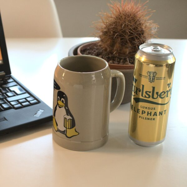 "Linux beer mug ""... more beer"""