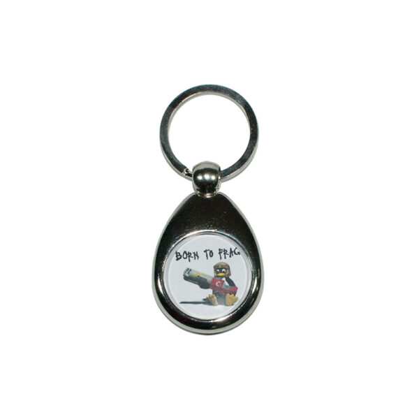 "Keychain with Tux ""Born to frag"""